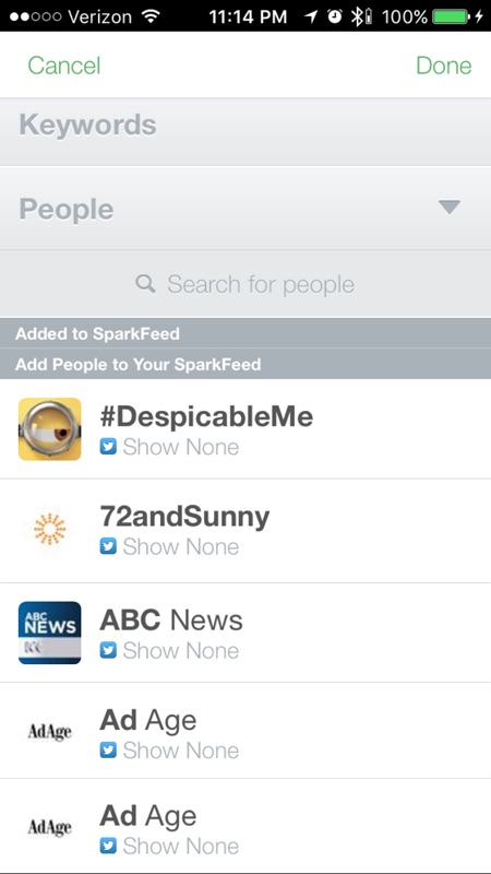SparkFeeds: choose profiles