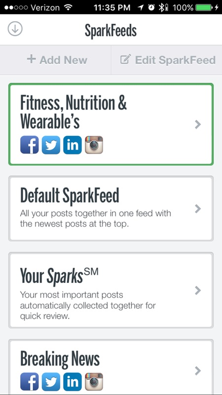 Easy access to SparkFeeds